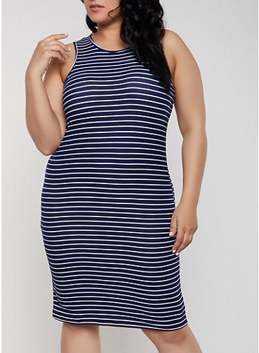 Plus Size Sleeveless Soft Knit Striped Dress,NAVY,large