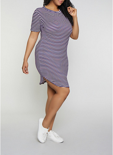 Plus Size Striped T Shirt Dress,NAVY,large