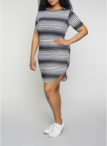Plus Size Striped T Shirt Dress | 1390038349463,BLACK/WHITE,large