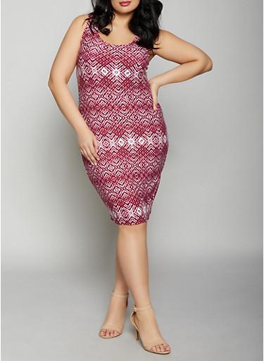 Plus Size Printed Tank Dress,WINE,large