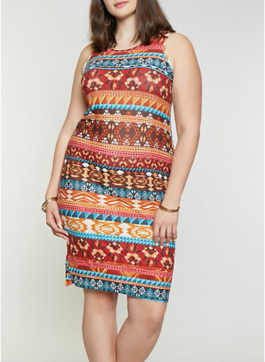 Plus Size Aztec Print Tank Dress,MULTI COLOR,large