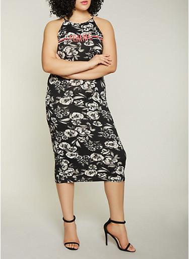 Plus Size Femme Graphic Printed Tank Dress,BLACK/WHITE,large