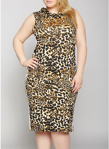 Plus Size Slay Graphic Printed Tank Dress,BROWN,large