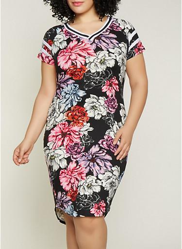 Plus Size Ribbed Trim Printed T Shirt Dress,BLACK,large