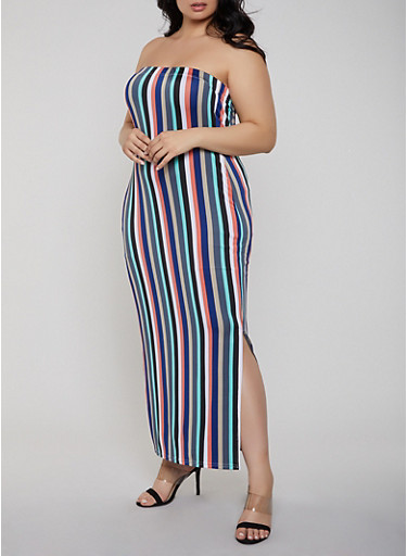 690f62e3627 Plus Size Striped Tube Maxi Dress - Rainbow