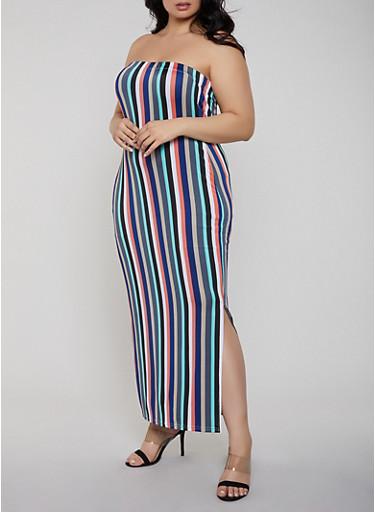 Plus Size Striped Tube Maxi Dress,GREEN,large