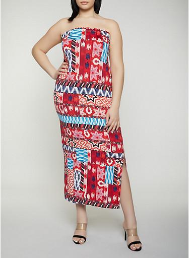 Plus Size Aztec Print Tube Dress,WINE,large