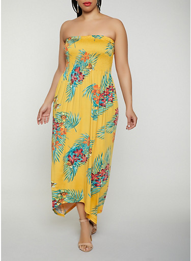 Plus Size Smocked Floral Maxi Sundress,MUSTARD,large
