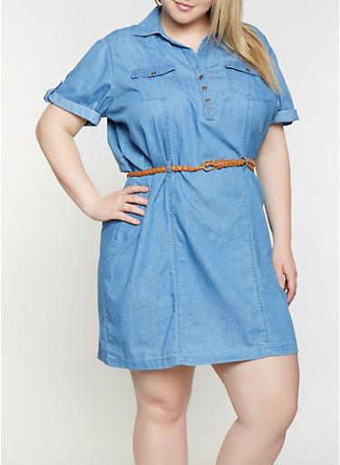 Plus Size Belted Denim Dress,MEDIUM WASH,large