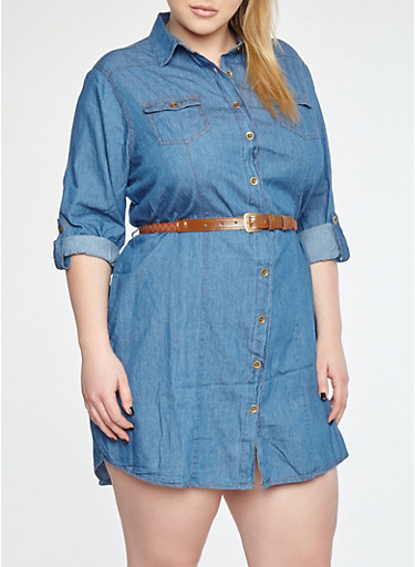 Plus Size Button Front Belted Denim Dress | Tuggl