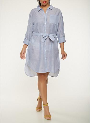 Plus Size Striped Shirt Dress,BLUE,large