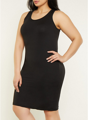 Plus Size Midi Soft Knit Tank Dress,BLACK,large