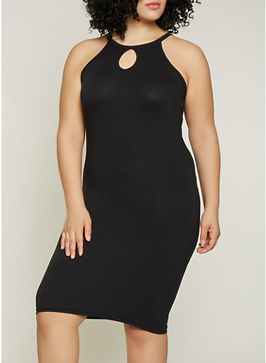 Plus Size Soft Knit Tank Dress | 1390038349821,BLACK,large