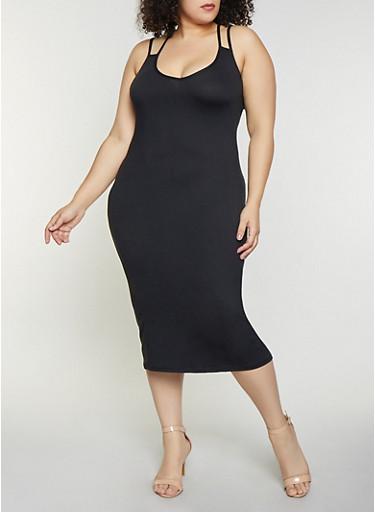 Plus Size Cross Back Cami Dress,BLACK,large