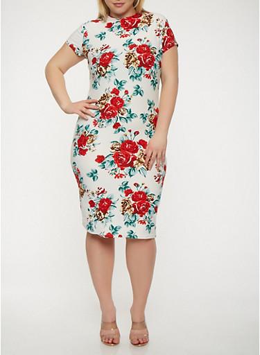 Plus Size Short Sleeve Soft Knit Bodycon Dress,IVORY,large