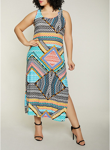 Plus Size Printed Side Slit Tank Dress,MULTI COLOR,large