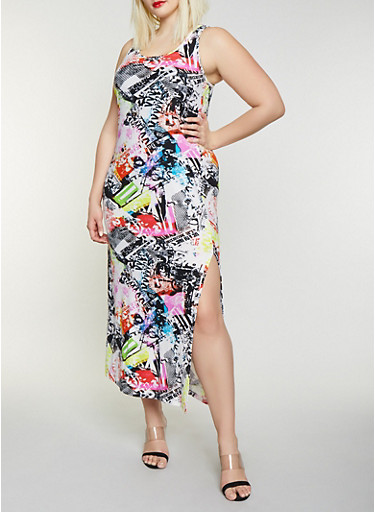 Plus Size Magazine Print Maxi Tank Dress,MULTI COLOR,large