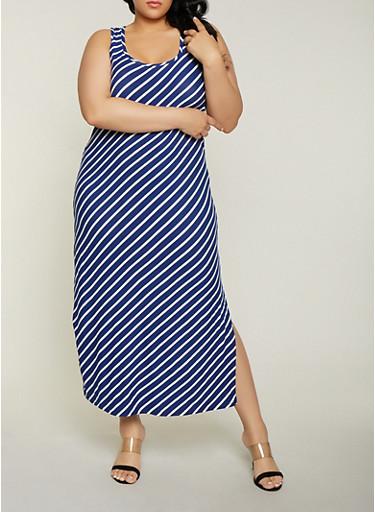 Plus Size Striped Side Slit Tank Maxi Dress,NAVY,large