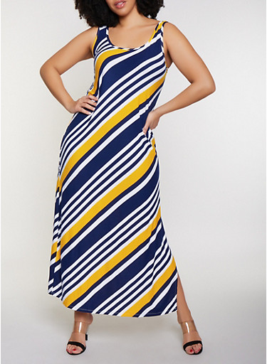Plus Size Diagonal Stripe Tank Maxi Dress,NAVY,large