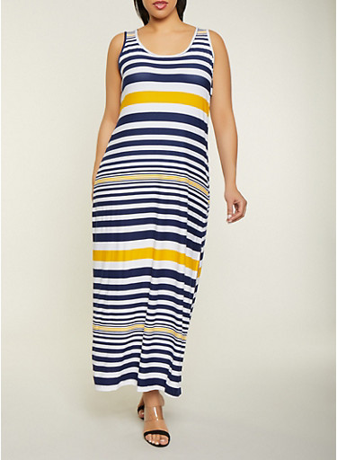 Plus Size Striped Side Slit Maxi Tank Dress,NAVY,large