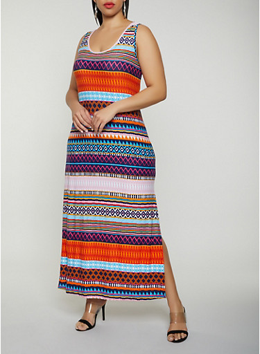 Plus Size Geometric Tank Maxi Dress - Rainbow