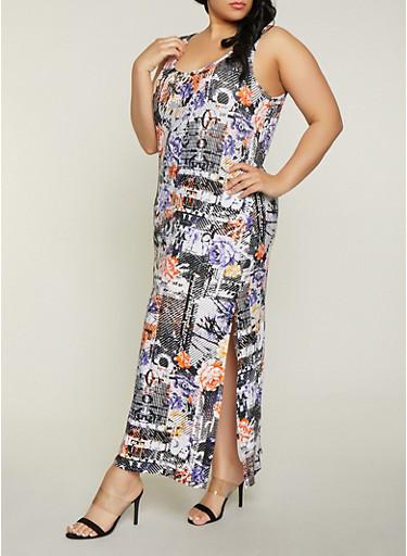 Plus Size Floral Magazine Print Maxi Dress,BLACK,large