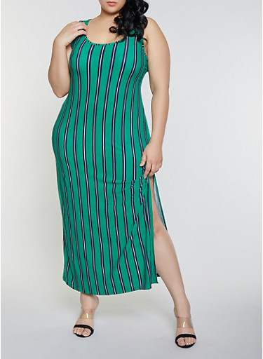 Plus Size Striped Tank Maxi Dress,KELLY GREEN,large