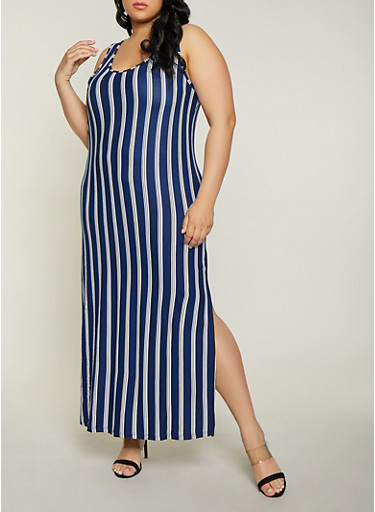 Plus Size Striped Soft Knit Tank Maxi Dress,NAVY,large
