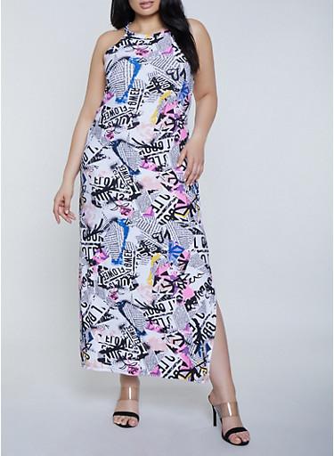 Plus Size Magazine Print Maxi Dress,WHITE,large