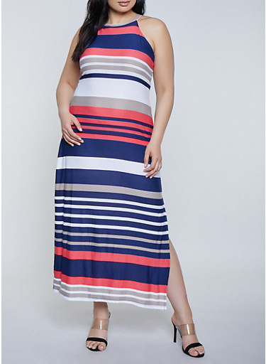 cfb76a2d36ac4 Plus Size Striped High Neck Maxi Dress - Rainbow