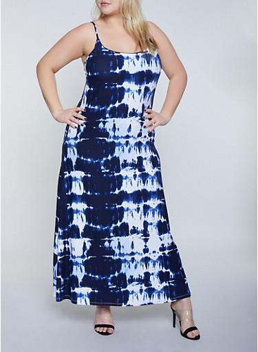 Plus Size Tie Dye Tank Cami Dress | 1390038349930,NAVY,large