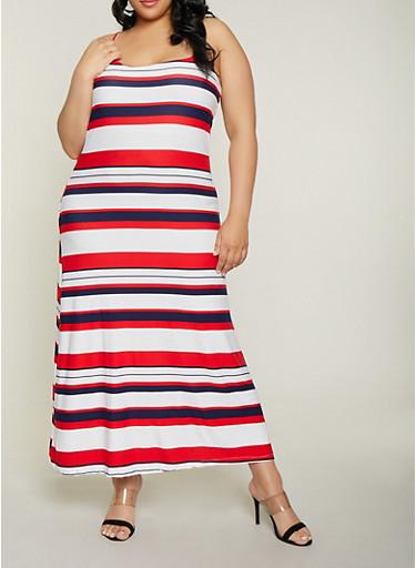 Plus Size Striped Cami Maxi Dress,WHITE,large