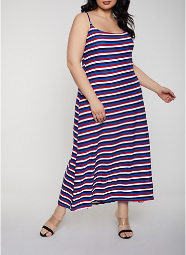 Plus Size Striped Maxi Cami Dress,NAVY,large