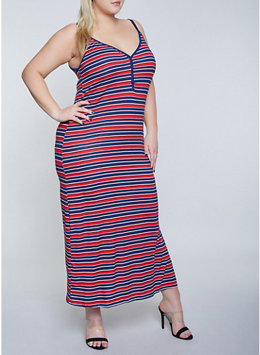 Plus Size Half Button Striped Maxi Dress,NAVY,large