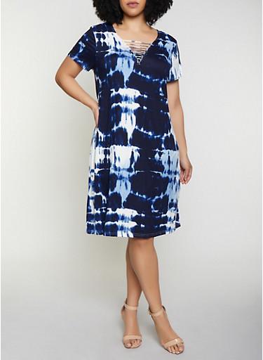 Plus Size Caged Neck Tie Dye Dress,NAVY,large