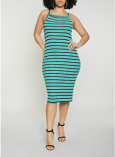 Plus Size Striped Ribbed Knit Tank Dress,KELLY GREEN,large