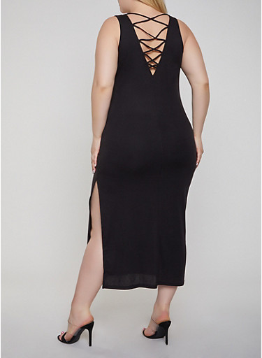 Plus Size Caged Back Tank Dress,BLACK,large