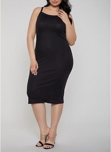 Plus Size Square Neck Ribbed Knit Tank Dress,BLACK,large