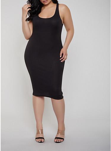 Plus Size Ribbed Knit Racerback Tank Dress,BLACK,large
