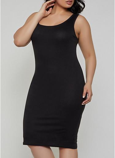 Plus Size Rib Knit Tank Midi Dress | 1390038349997,BLACK,large