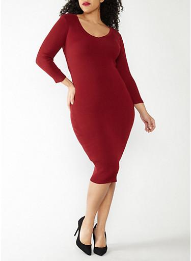 Plus Size Rib Knit Midi Sweater Dress,BURGUNDY,large