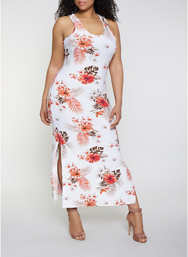 Plus Size Floral Side Slit Tank Maxi Dress,IVORY,large