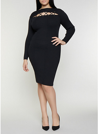 Plus Size Lace Up Sweater Dress,BLACK,large