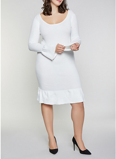 Plus Size Bell Sleeve Sweater Dress,IVORY,large