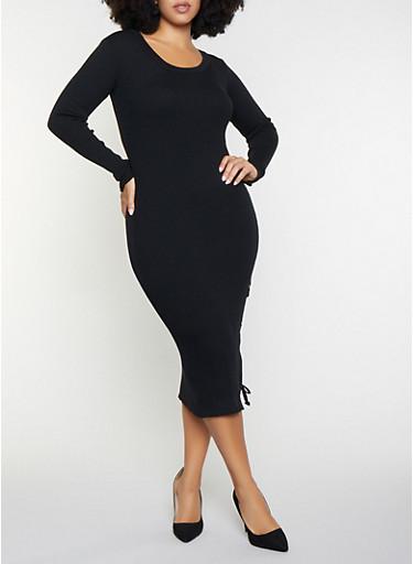Plus Size Rib Knit Sweater Dress,BLACK,large