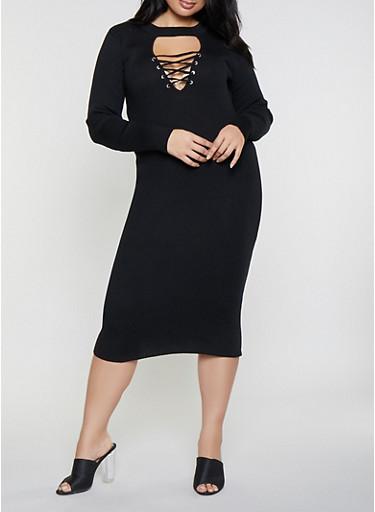 Plus Size Lace Up Keyhole Sweater Dress,BLACK,large