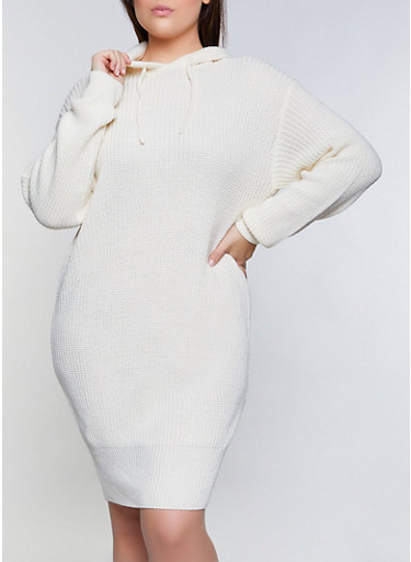 Plus Size Hooded Midi Sweater Dress,IVORY,large