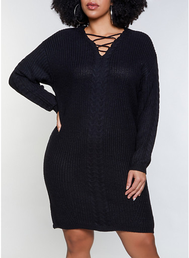Plus Size Caged Sweater Dress,BLACK,large