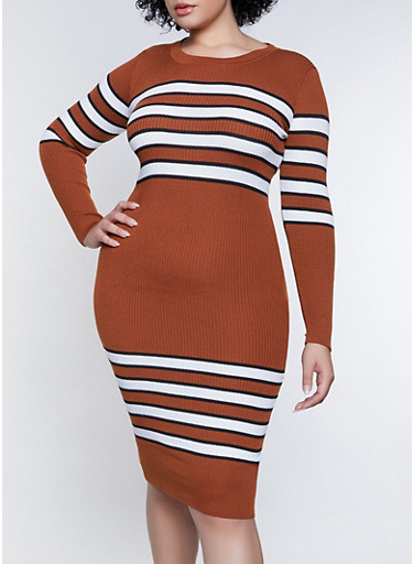 Plus Size Striped Detail Sweater Dress,BRONZE,large