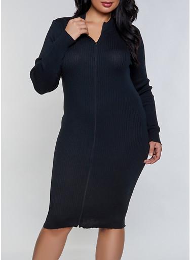 Plus Size Zip Front Sweater Dress,BLACK,large